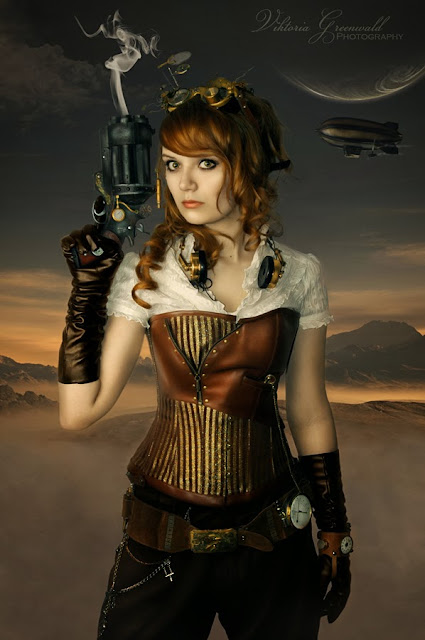 Airship cosplay includes goggles, gun, and steampunk headphones!