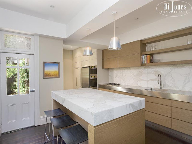Image result for picture of a thick slab kitchen countertop