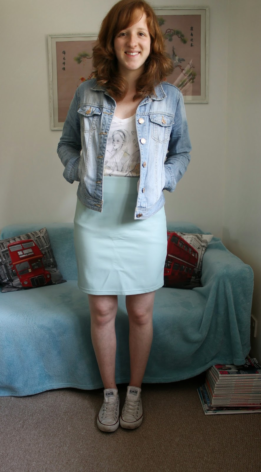 Outfit of the Day Primark Skirt and Denim Jacket and Converse