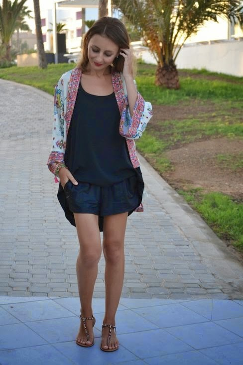 Wearing a Summer Kimono Cardigan with Black Romper