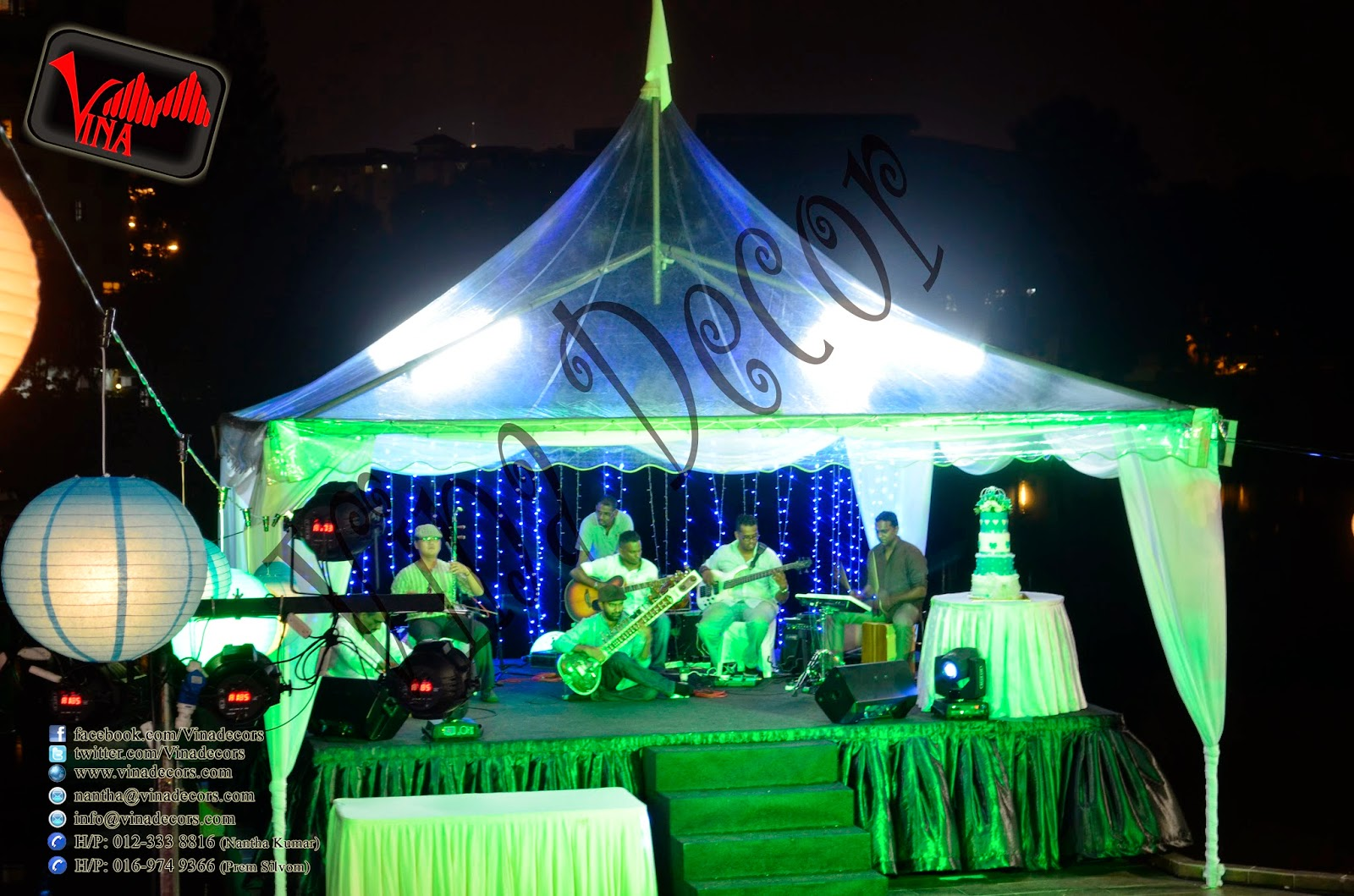 Flamingo Hotel - Garden Wedding Dinner at Flamingo Hotel, Ampang on 31/08/2014 by Vina Canopy & Decor (Marky Tent, Canopy, Table, Chair and Paper Lantern Decor)