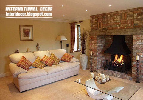 brick fireplace classic design for large space