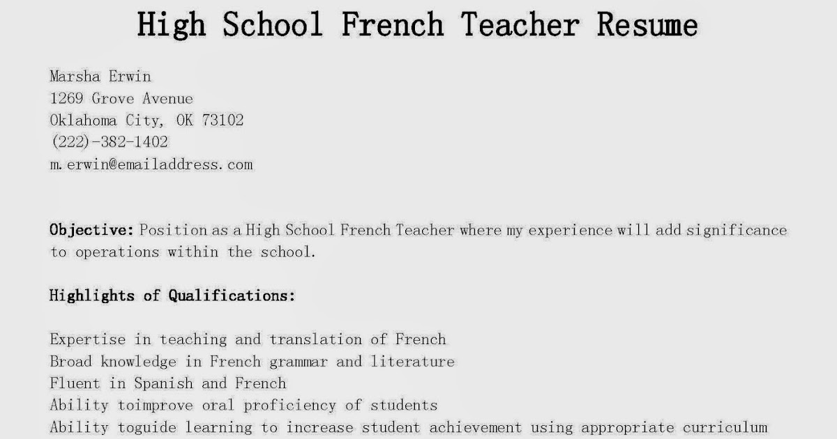 resume samples  high school french teacher resume sample