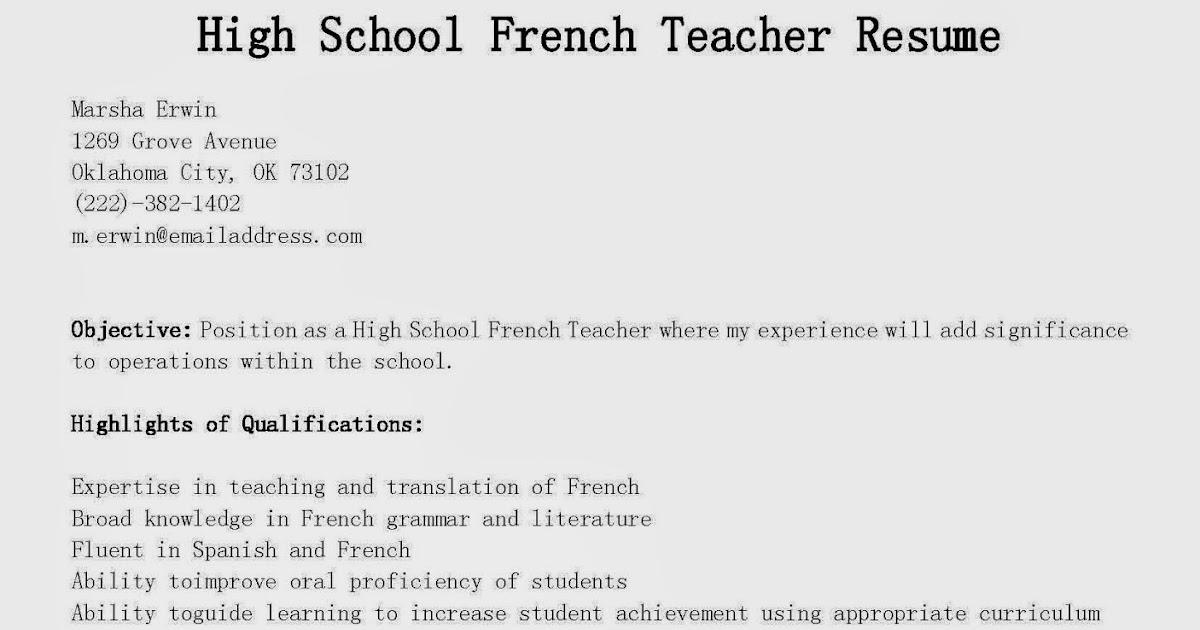 resume samples  high school french teacher resume sample
