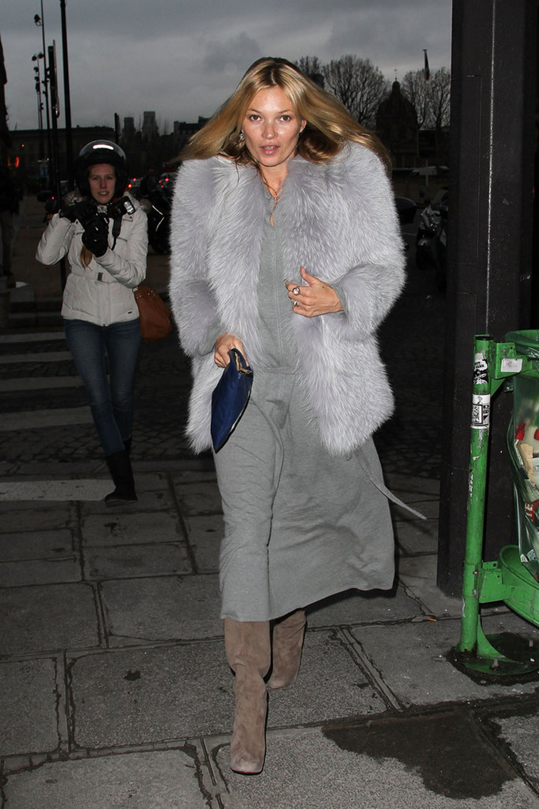 Kate Moss in a grey fur and dress, street style, paparazzi