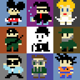 A 3x3 Sprite Grid with nine real and fictional characters, all 16x16 pixels.