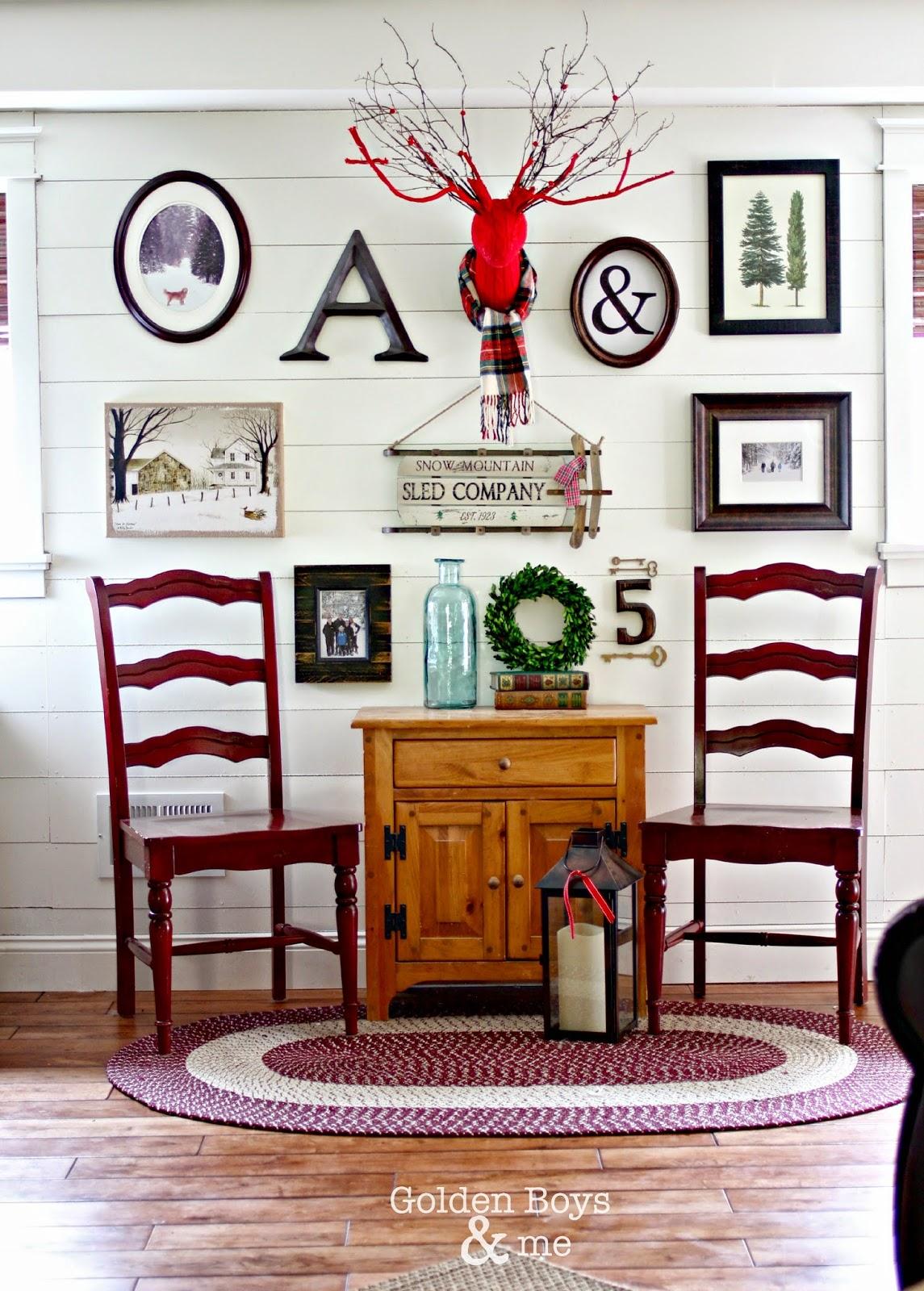 Winter themed gallery wall on white plank wall-www.goldenboysandme.com
