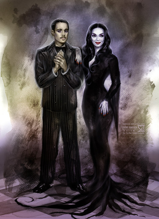 Gomez and Morticia Addams por daekazu