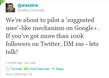 Google+ to have twitter-like 'suggested user' feature