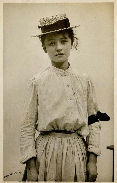 1906 postcard of a sad girl