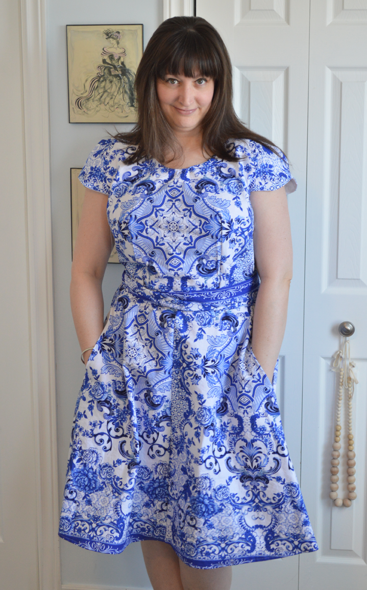 Blue & White Porcelain Crepe Dress sewn by Cicely Ingleside