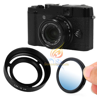 slim 40mm MC UV filter + vented metal hood for fuji fujifilm LH-X10 X10