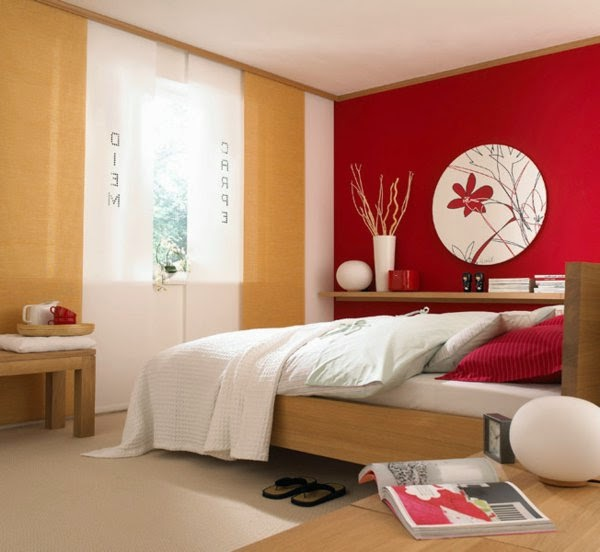 Bedroom Wall Decor Ideas: Red Wall, Round Picture And Interesting Curtain