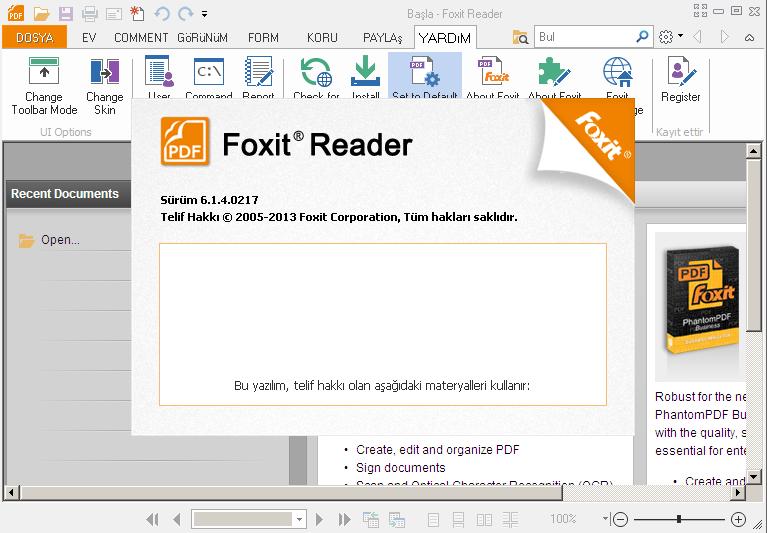 Foxit Reader 6.1 Türkçe Katılımsız indir