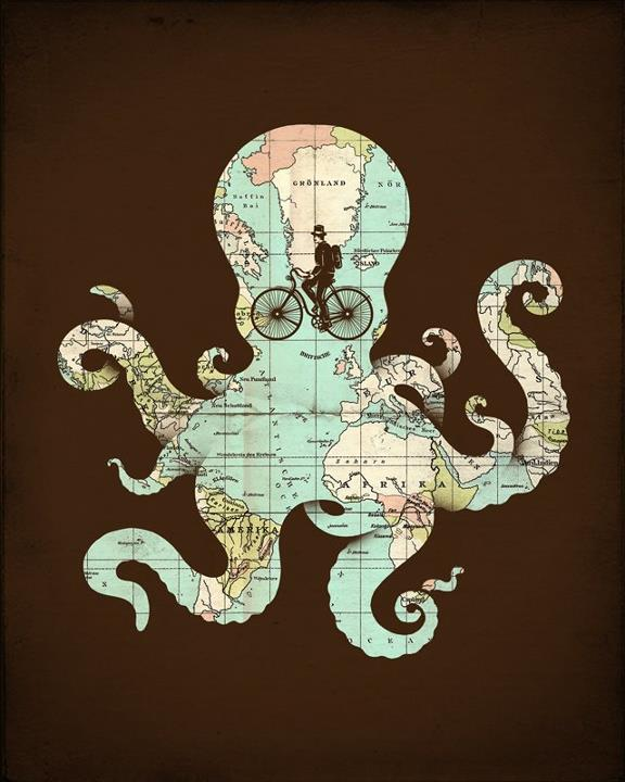 a brown image with a map forming an octopus with a bicycle making its wheel its eye