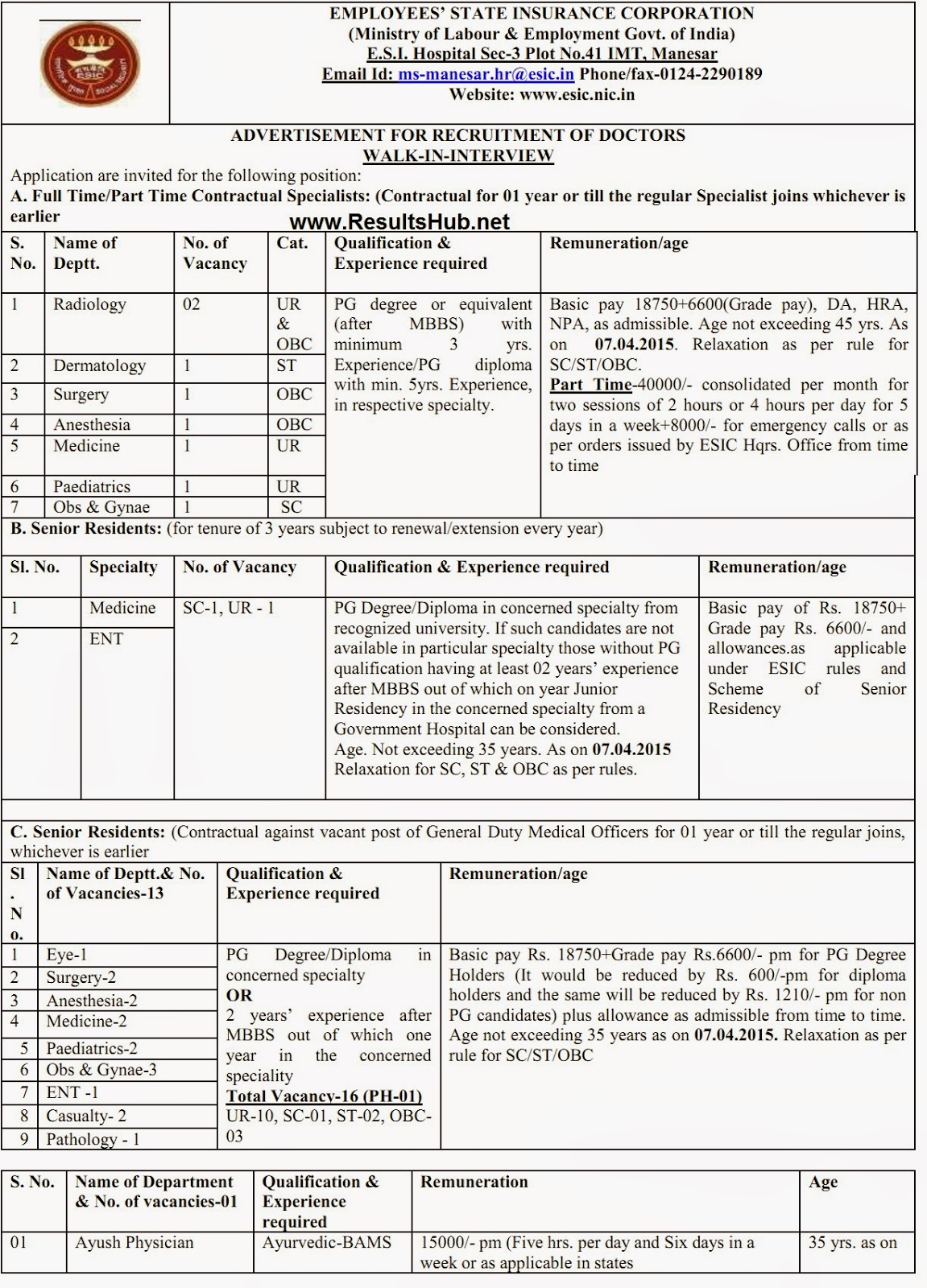 ESIC Recruitment 2015 Details