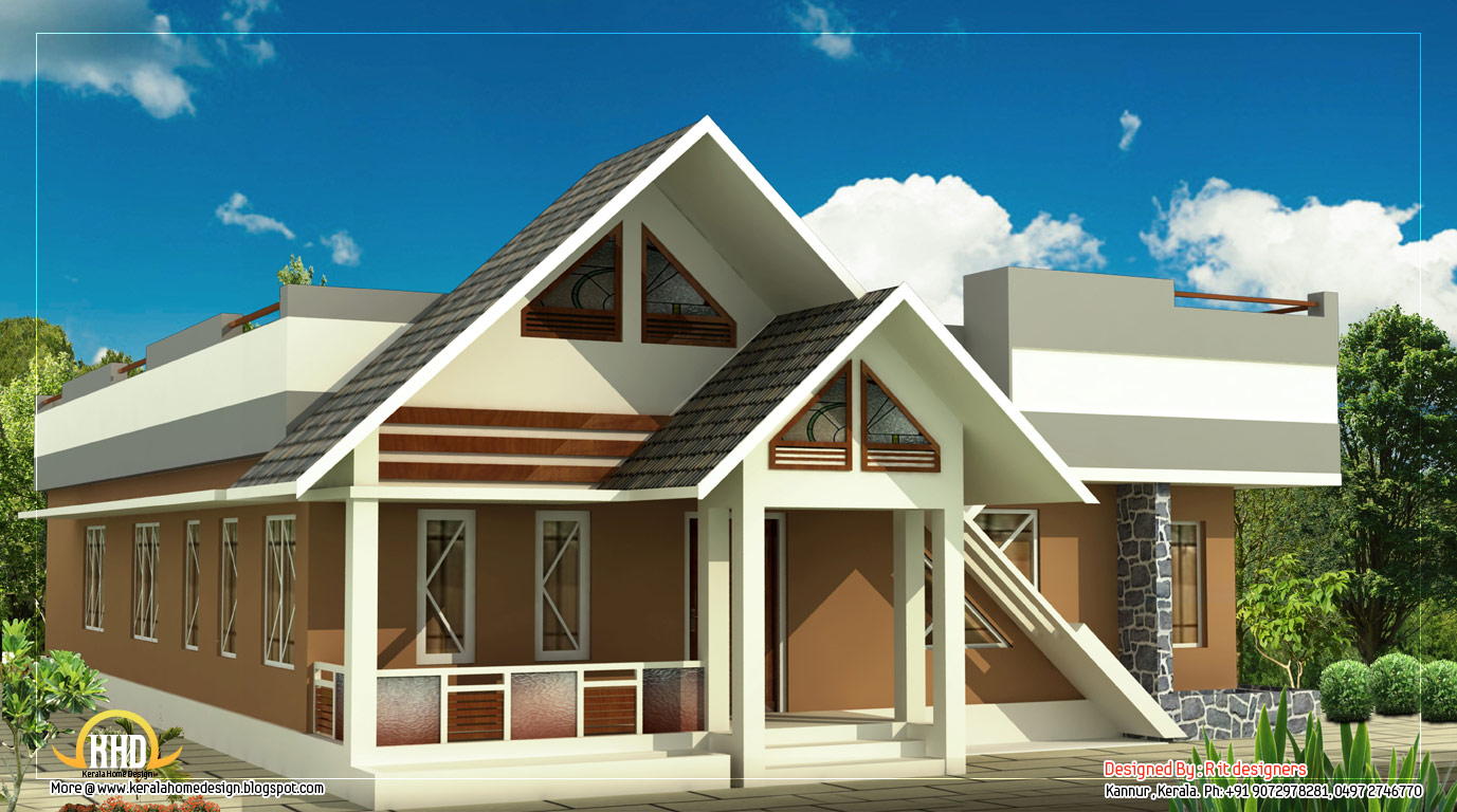 Single story house 1100 sq ft kerala home design and for One floor house images