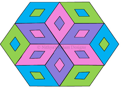 Rhombus kolam Interlocked dots 15 to 8 dots