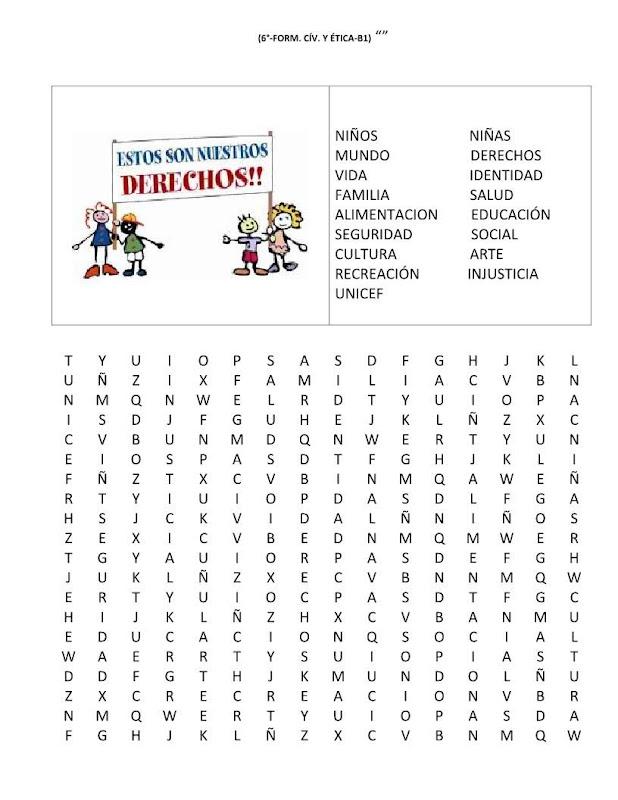 Sopa de letras de los derechos de los niños