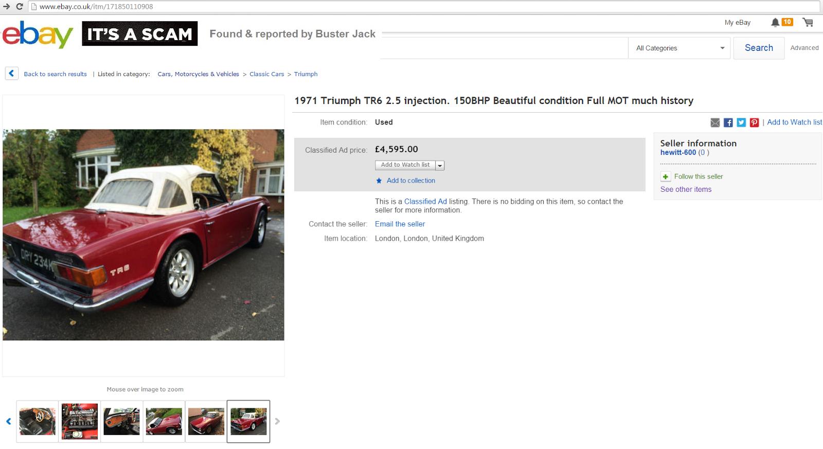EBAY SCAM : 1971 Triumph TR6 2.5 injection. 150BHP   DRY234K ...