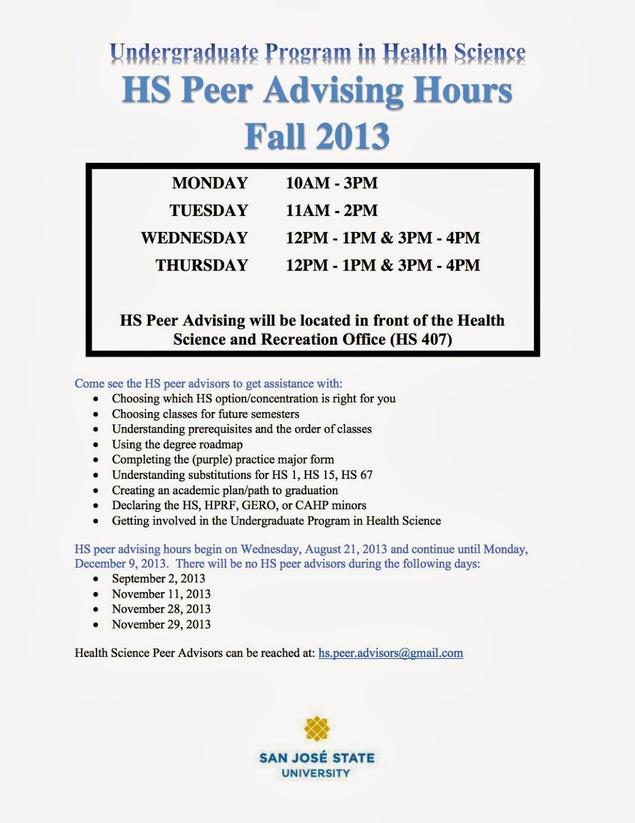 SJSU Health Science Advising: October 2013
