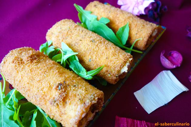 flamenquines con rebozado de copos de puré de patata