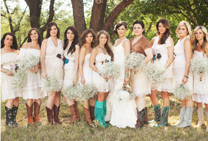 white bridesmaid dresses with floral accents