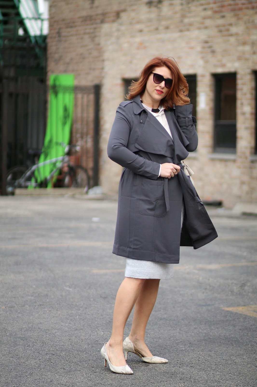 gray, trench, coat