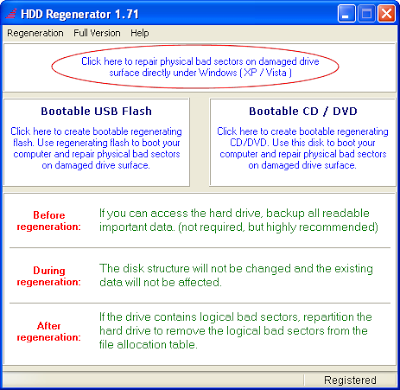 Software HDD Regenerator : Dokter Harddisk Bad Sector