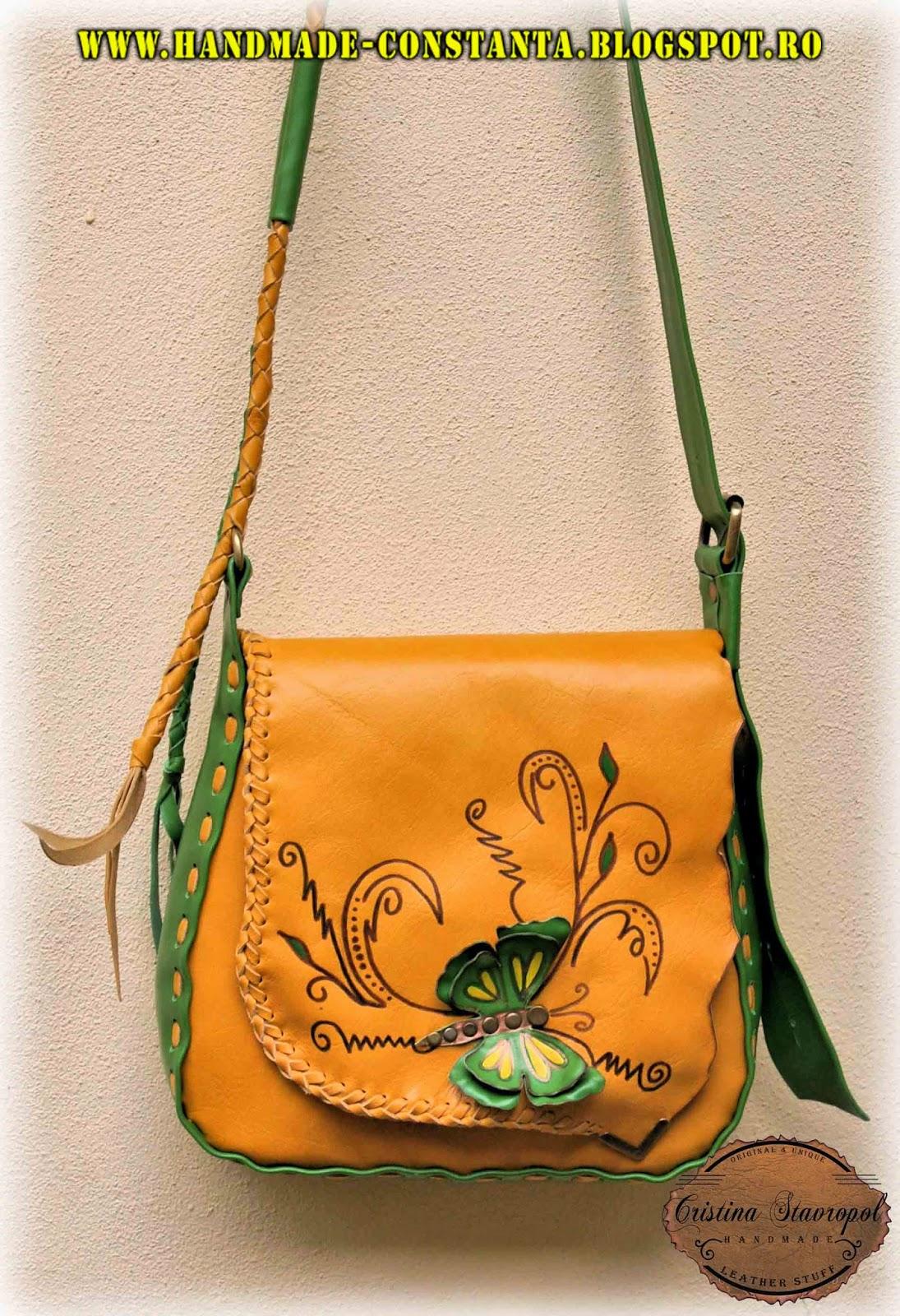 Кожаная сумка, зеленый и коричневый.