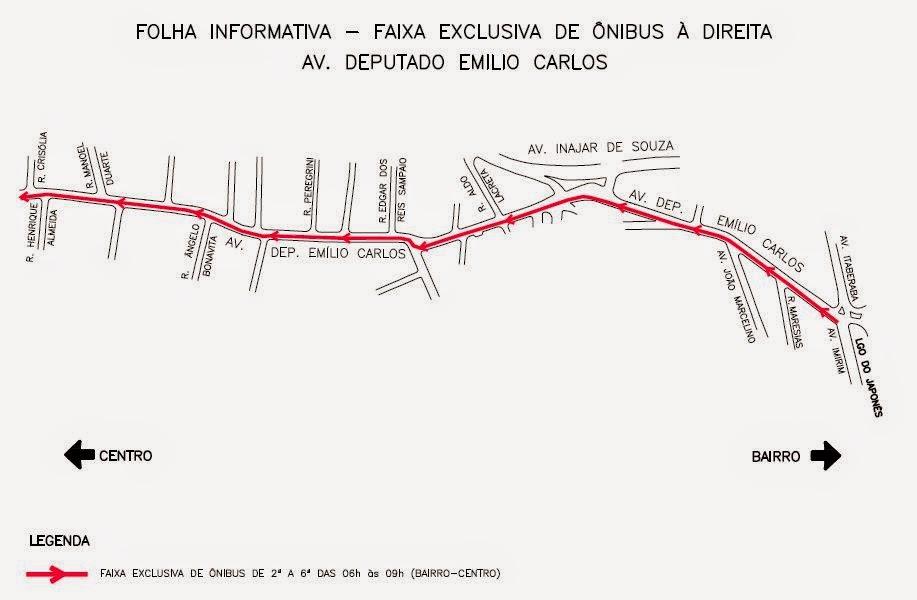Faixa exclusiva para ônibus na Av. Deputado Emílio Carlos