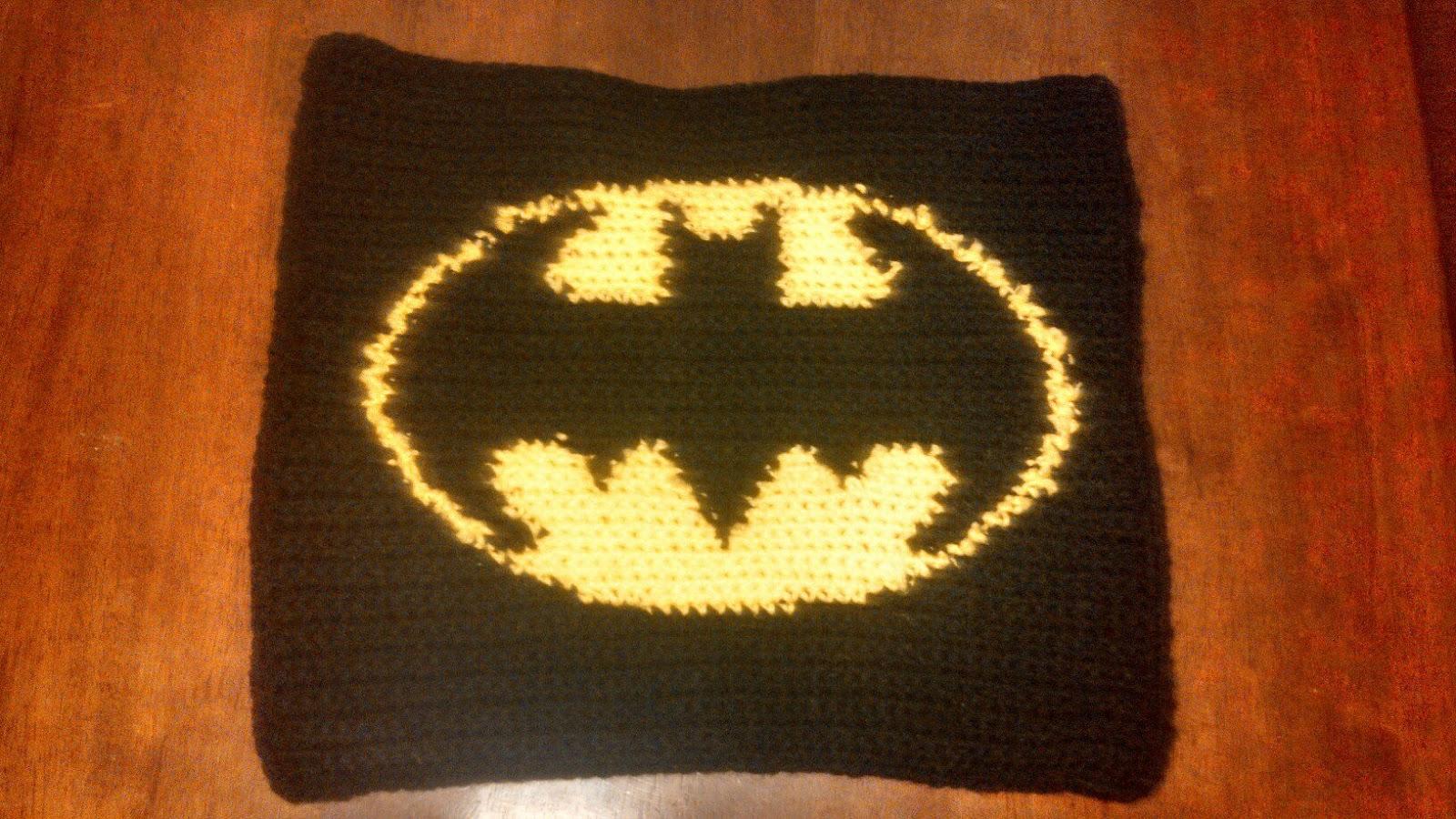 Knitting Pattern For Batman Blanket : Butterflys Creations: Superhero Afghan: Batman (Block 1)