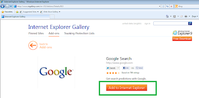 Add Google Add-on to Internet Explorer