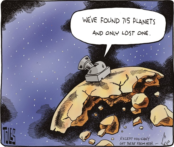 Tom Toles: planets found and planet lost.