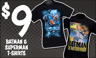 $9 Batman and Superman t-shirt sale at SuperHeroStuff