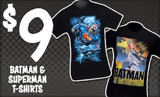 $9 Batman and Superman t-shirt sale at SuperHeroStuff
