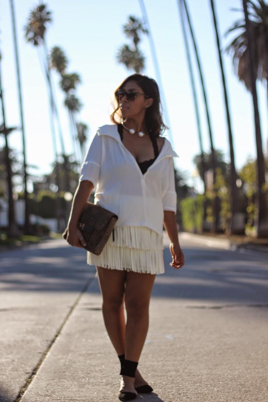 white fringe mini skirt leopard dvf clutch prada monochrome los angeles fashion blogger