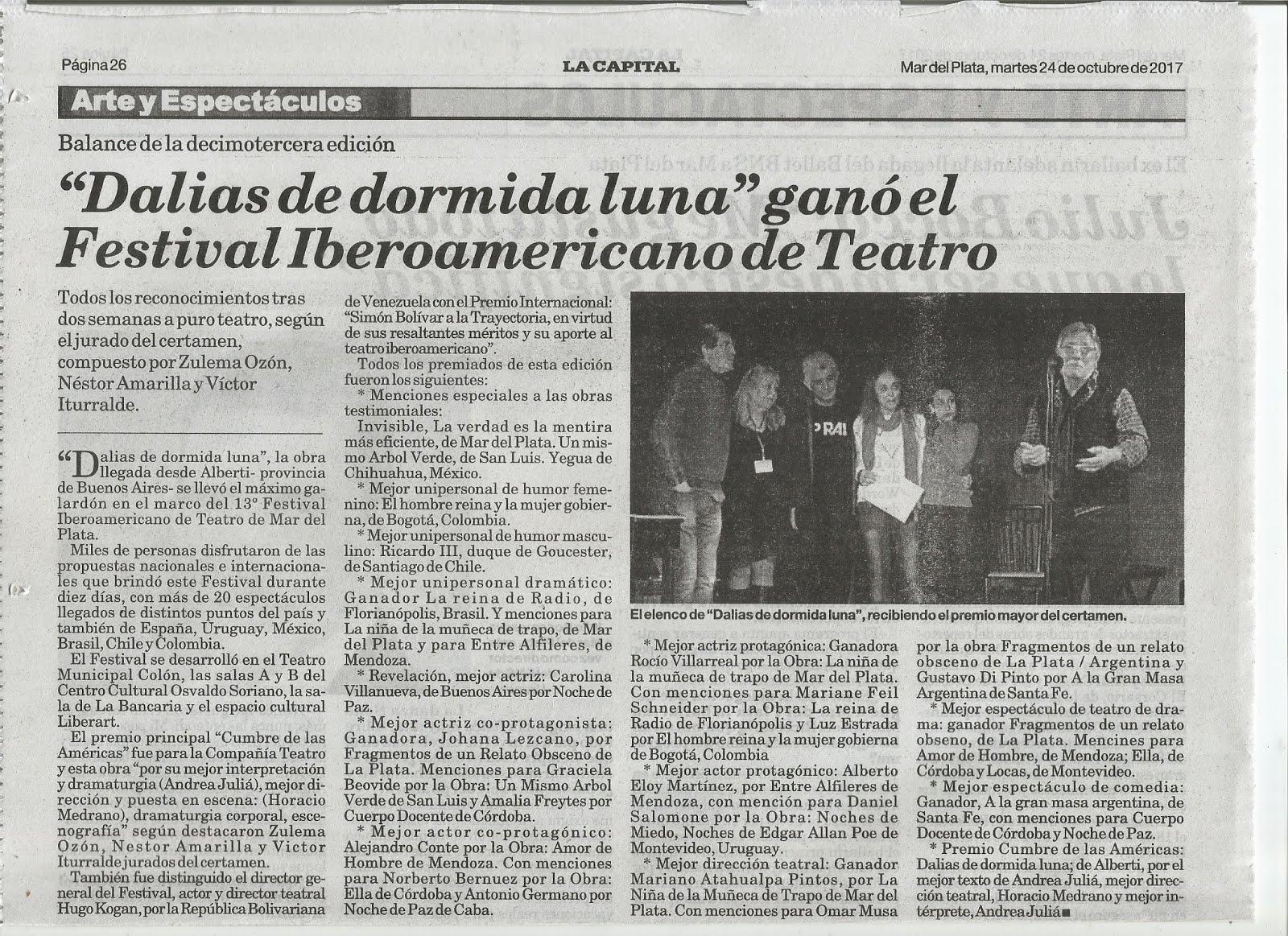 Premiación en el Festival CUMBRE DE LAS AMÉRICAS