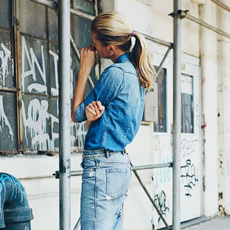 how to style denim on denim shirt and skirt, Olivia Palermo style