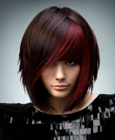 Brunette with Red Highlights 2014
