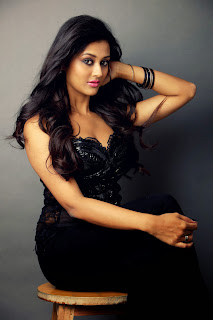 Pooja Jhaveri HQ Pics in Stark Black Gown with Deep Neck Spicy Pics
