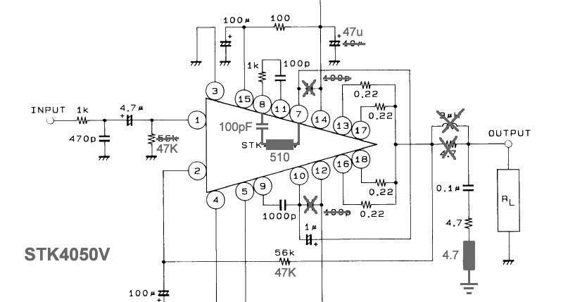 wiring schematic diagram  stk4050v power amplifier