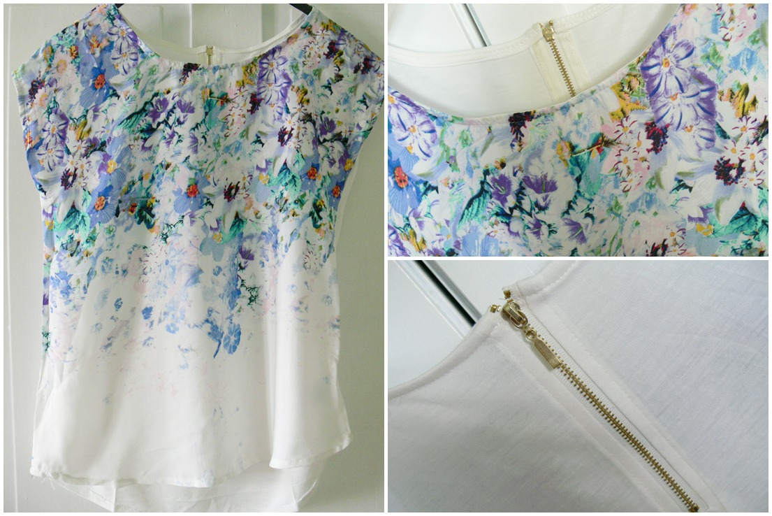 Floral Print Splicing Scoop Collar Zipper Trendy Style Women's T-Shirt