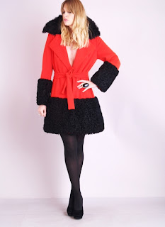 Vintage 1960's red wool Lilli Ann mod style coat with black Mongolian fur collar and cuffs.