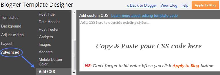 Blogger Add CSS