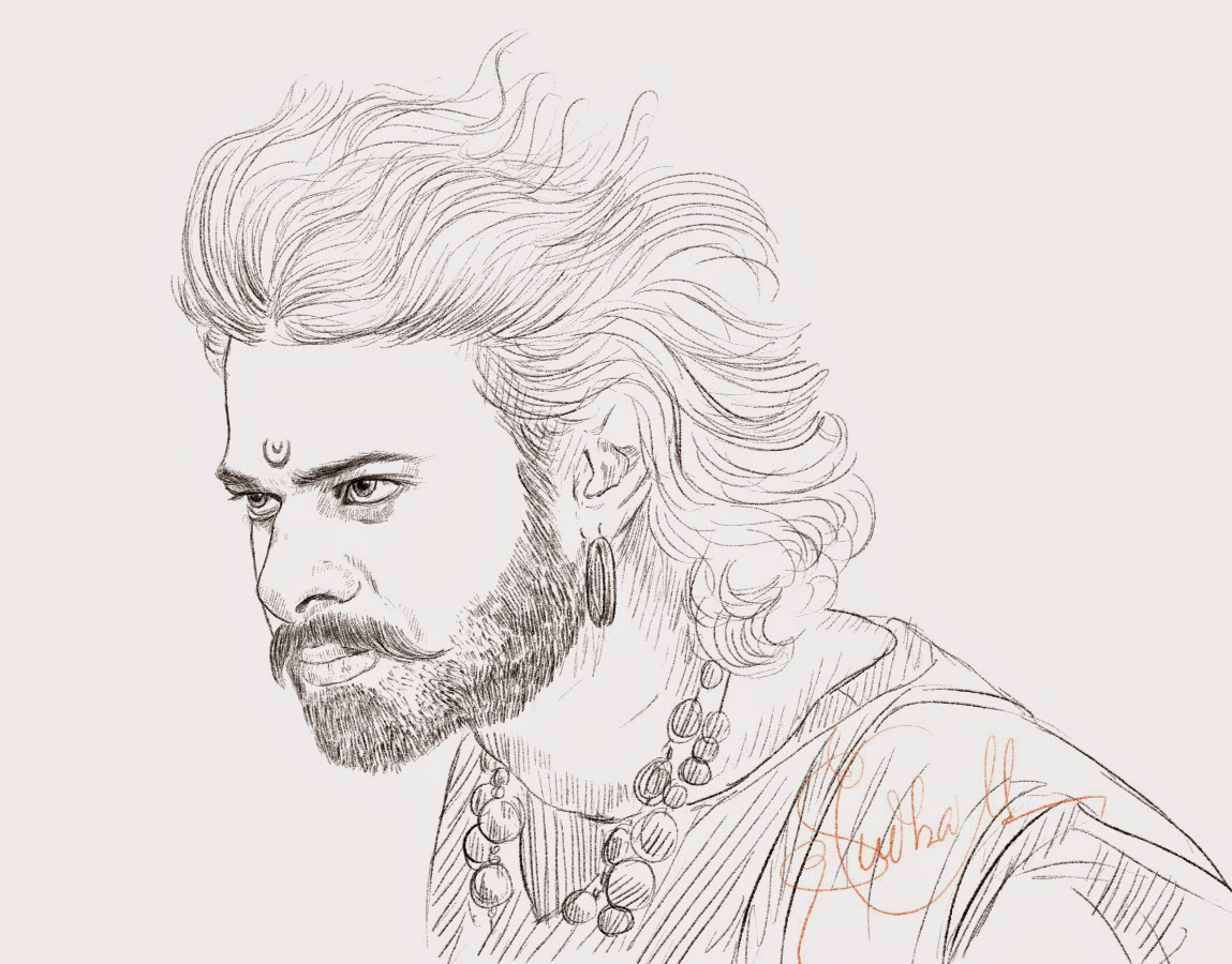 Prabhas hero drawing from bahubali dynamic action hero