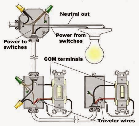 Residential wiring diagrams on improperly wiring three way switches