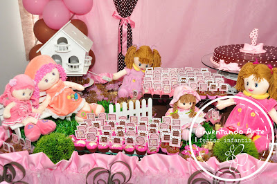 festa infantil marrom rosa Jolie ponta grossa