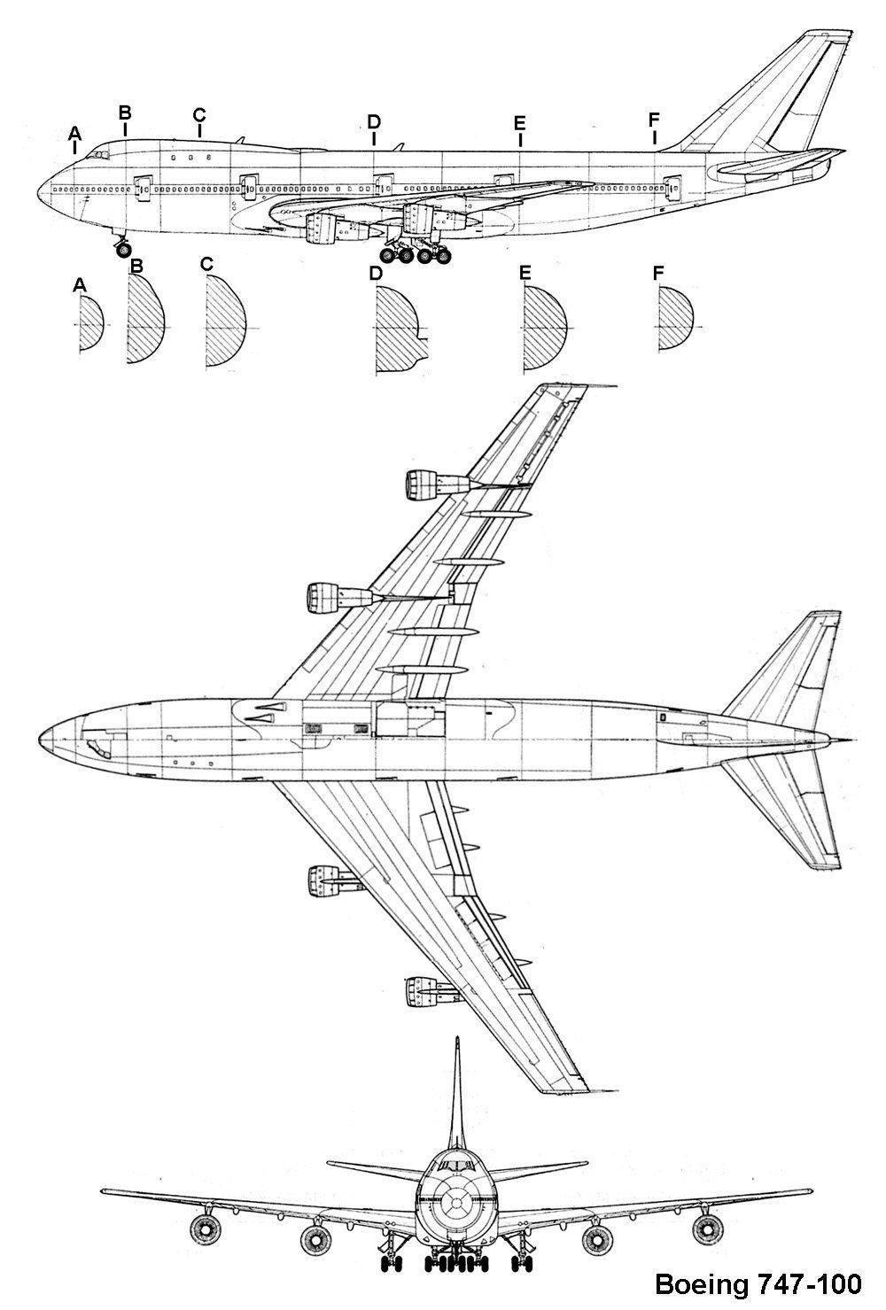 Схеме самолета боинг 747