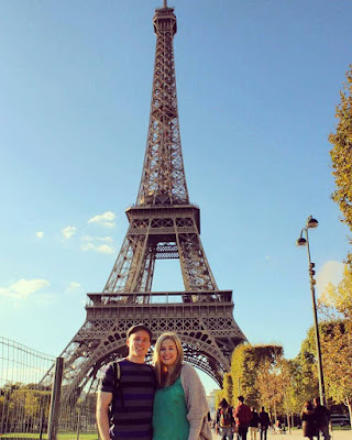 Couple at Eiffel Tower in Paris